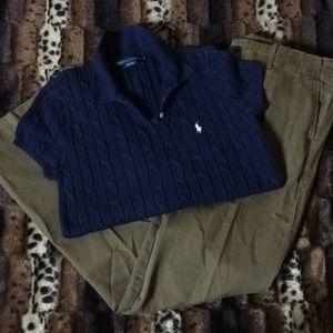 BNWOT RALPH LAUREN Classic Wide Leg Khaki Trousers